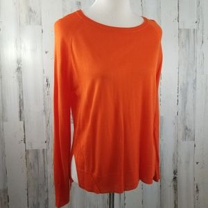 Zara Knit Orange Split Side Lightweight Sweater